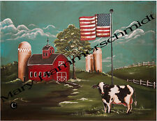 ORIGINAL ART BY MARY HAMMERSCHMIDT AMERICANA COW FARM SCENE PRINT * ESC *