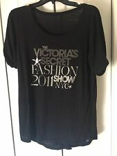 Victoria's Secret Fashion Show Embellished Black T Shirt Top Blouse Size L/XL