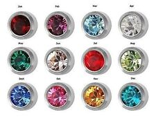 12 Pairs of Birthstone Surgical Stainless Steel RD3.0mm Piercing Stud Earrings