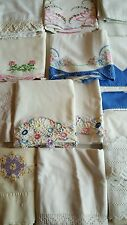Vintage Pillowcases Lot Embroidered Crocheted Lot of 15
