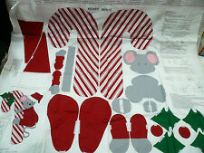 Cut & Sew Cranston VIP Panel Merry Mouse Candy Cane Door Fabric Craft Stitch 3D
