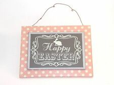Pink White Dots Wood Happy Easter Bunny Hanging Sign Spring Decoration Picture