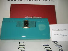 $595 NEW Salvatore Ferragamo Bifold Blue Green Patent Leather Wallet Card Case