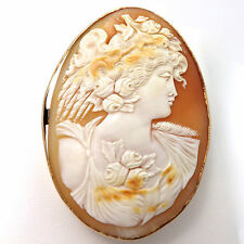 Big Victorian 1880 Carved Shell Cameo Goddess Flora 10K Gold Brooch Pin Pendant