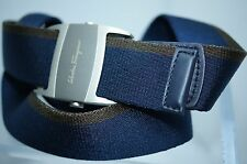 Salvatore Ferragamo Men's Belt Navy Adjustable Ribbon Leather Buckle Size 38 NWT