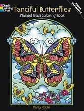 Dover FANCIFUL BUTTERFLIES Stained Glass Adult Coloring Book Marty Noble 2012