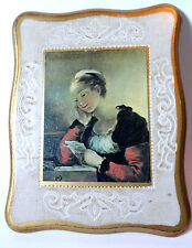 GIRL READING POST Signed Oil Painting Reproduction on Fancy Wood Wall Hanging