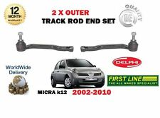 FOR NISSAN MICRA K12 2002-2007 NEW LEFT + RIGHT 2 x OUTER TIE TRACK ROD ENDS