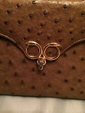 Pre-loved 100% Genuine Ostrich Brown Leather Evening Purse with Gold Snake Lock