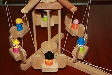 Vintage wooden Fisher Price Little People Carousel and 6 clown cowboy swing toy