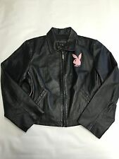 Womens PLAYBOY Black/Pink Zip Up Leather Jacket Sz XL Bunny