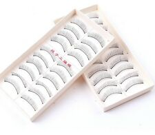 FD105 Natural Eye Lash Long Thin Fake False Eyelashes Clear Makeup 10 Pairs Free
