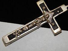 Antique Victorian Black Wood Cross 4 a Rosary Crucifix Skull & Cross Bones