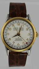 RARE Movado Calendomatic Triple Date Automatic Brown Leather 18K Gold Mens Watch