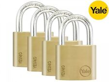 4 PACK YALE SECURITY PADLOCKS 40mm - KEYED ALIKE - SOLID BRASS - NEW