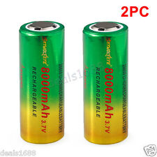 2PC 3.7V 26650 8800mAh Li-ion Rechargeable Battery For LED Flashlight Torch Lamp
