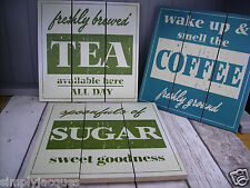 3 Shabby Chic Vintage Cream,Green,Blue Wood Slat Plaques,Tea Coffee Sugar Signs