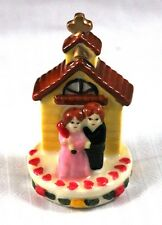 """Unusual 3"""" Ceramic Cake Topper or Decor Couple in Front of Church"""