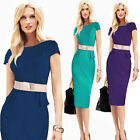 NEW Womens OL Pinup Belted Elegant Peplum Party Wear To Work Sheath Pencil Dress