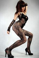 Calze corpo intero Ricamate reggicalze aperte fiocchi rete Open Body Stockings