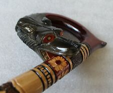 WOLF'S BITE Gorgeous Hand Carved Wooden Linden WALKING STICK Cane Folk Art
