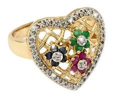 RING Smaragd Saphir Rubin Diamant Gr 57 HERZ Silber 925 Vergoldet Sterlingsilber