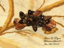 Arturo E.Reyna NATURAL OAK ACORN CLUSTER TWIGS LEATHER LEAVES SIGNED BROOCH/PIN