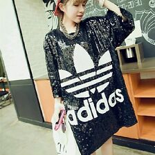 sequin over sized tee shirt baseball style dress one size black
