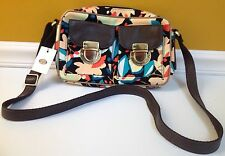 FOSSIL Riley Fab Top Zip Dark Floral Handbag Crossbody Bag