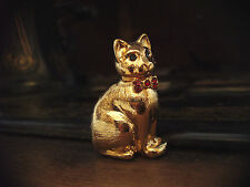 Vintage Gold Cat Brooch with Red Crystal Collar & Blue Crystal Eyes