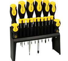 18 Piece Soft Grip Screwdriver Kit With Worktop Organiser Hand Tool Set