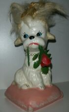 """Enesco White Poodle Dog Holding Rose In Mouth Import Japan 4"""" T"""
