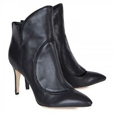 NIB Camilla Skovgaard black leather FLAME cutout ankle boots booties heels 36.5