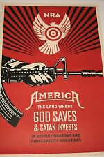 Shepard Fairey Obey God Saves Satan Invests NRA Offset poster print Signed