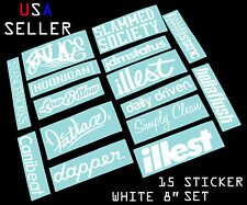 ILLEST FATLACE STANCEWORKS JDM SET 8 INCH 15 WHITE STICKERS DECAL DAPPER STATIC