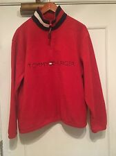 Vintage Tommy Hilfiger 1/4 zip fleece pullover Sz Small Red  Logo Spell out