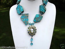 JULIANA CAMEO PENDANT, TURQUOISE CRYSTAL BEADS  HOWLITE SLABS NECKLACE