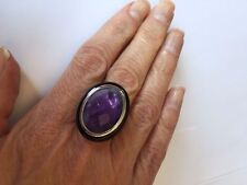 Genuine Organic Amethyst & Black Onyx Stainless Steel Ring Size 7