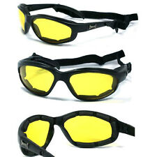 Choppers Motorcycle Riding Padded Sunglasses Removable Strap - Yellow Lens C18