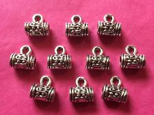 Tibetan Silver Dots Barrel Bead/Slider with Bail 10 per pack