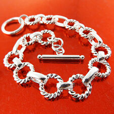 FSA228 GENUINE REAL 925 STERLING SILVER S/F SOLID CLASSIC TBAR BRACELET BANGLE