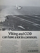 8/1974 PUB LOCKHEED S-3A VIKING US NAVY AIRCRAFT CARRIER ORIGINAL AD