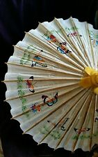 "CHINESE JAPANESE ORIENTAL TAN UMBRELLA PARASOL  24"" IN DIAMETER  RICE PAPER PRNT"