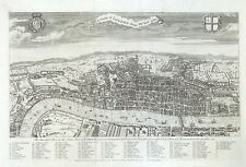LONDON ABOUT THE YEAR 1560, Bird's eye UK city view Maitland antique map 1756