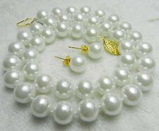 100% Real AAA 8mm White Sea South Shell Pearl Necklace 18 Earring