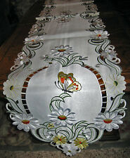 "Easter & Spring Butterfly & Daisy Embroidered Lacy Table Runner Decor 68""x 13"""
