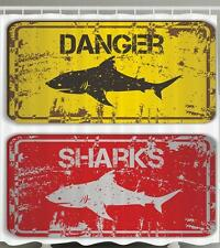 DANGER SHARKS YELLOW AND RED SIGN GREAT WHITE BEACH OCEAN THEME Shower Curtain