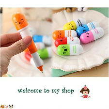 A Set Of 6pcs Telescopic Stationery Facial Expressions Pill Ball Pen New