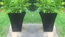 2 x Large Black Milano Tall Planter Square Plastic Garden Flower Plant Herb Pots