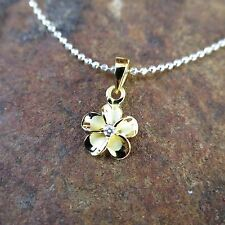 8mm Yellow Gold Plated Plumeria Hawaiian Genuine Silver Pendant Necklace SP87105